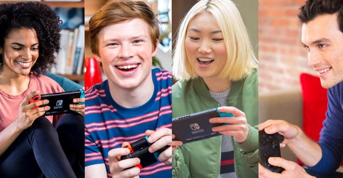 Quatre jeunes hommes et femmes tenant une manette Nintendo Switch.