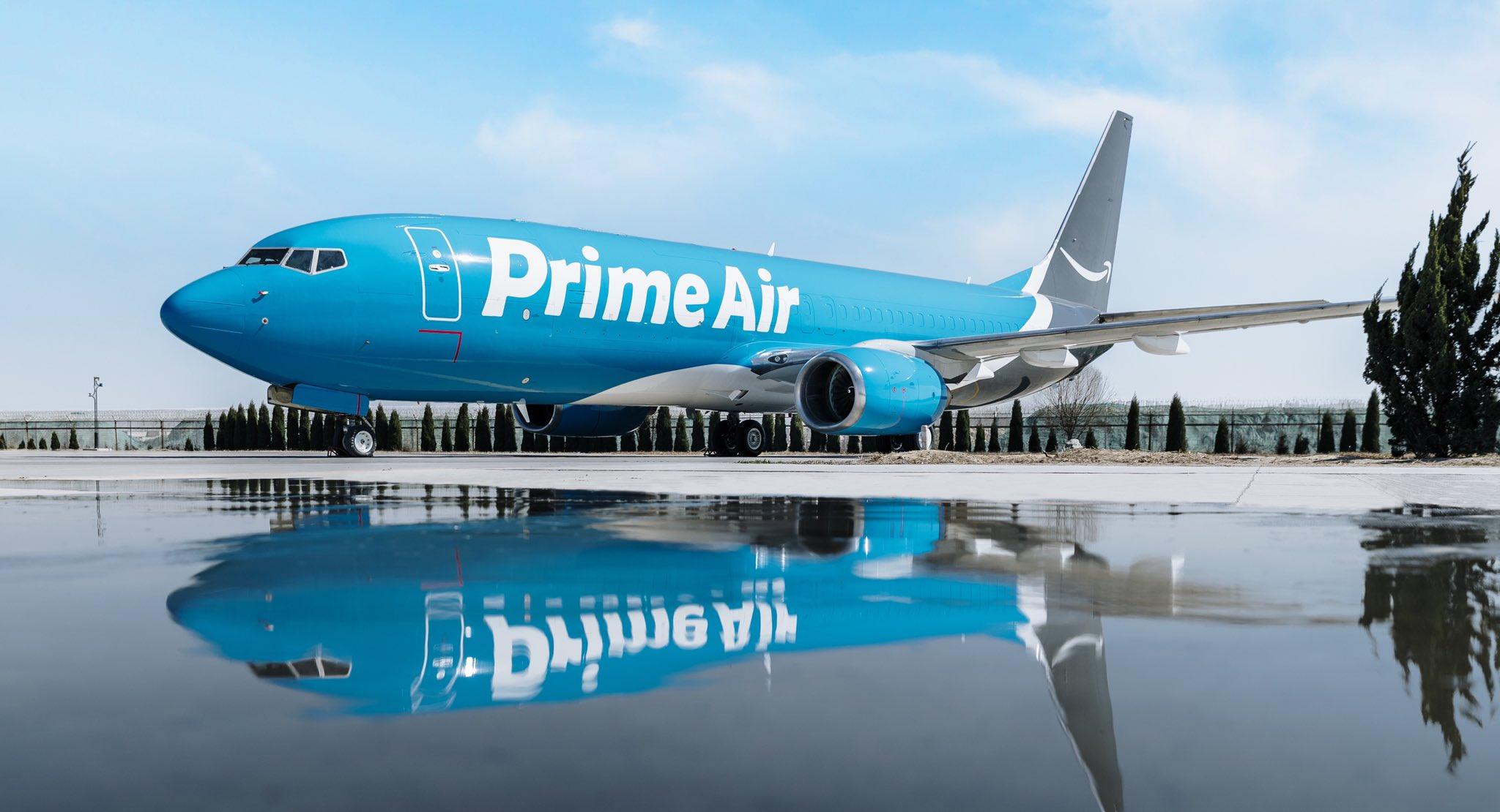 An Amazon Prime Air jet on the tarmac.