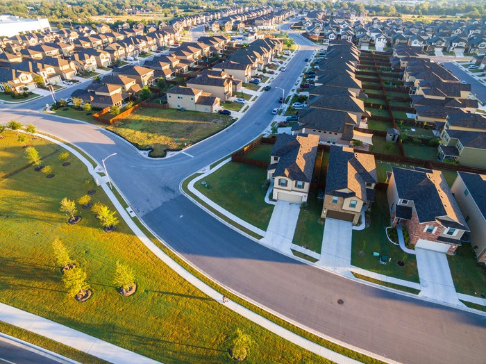 An aerial view of a suburban housing development.