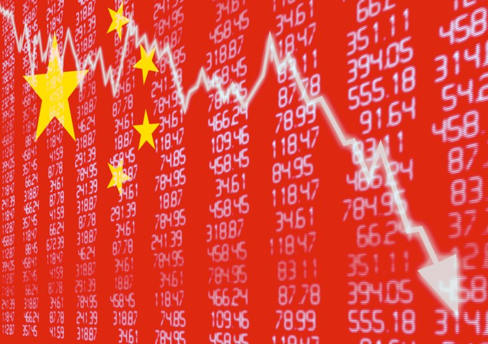 Chinese flag superimposed on stock prices and a down arrow