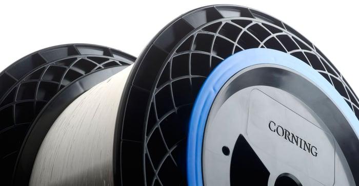Spool of Corning optical fiber.