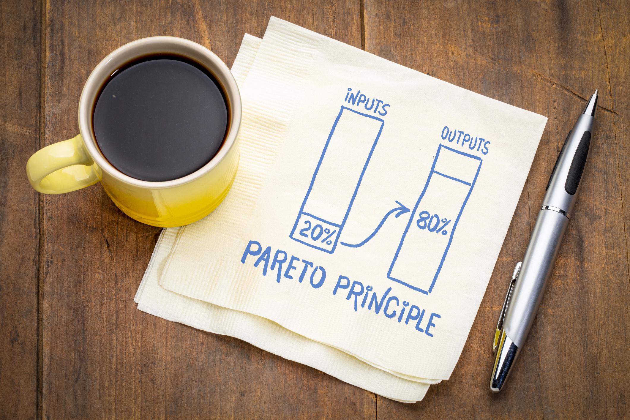 The pareto principle illustrated on a napkin