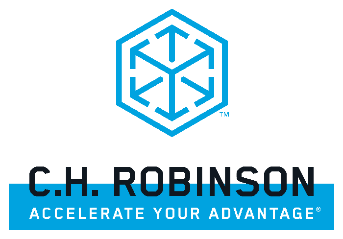 Logo of blue hexagon with arrows inside, and C.H. Robinson name and slogan.