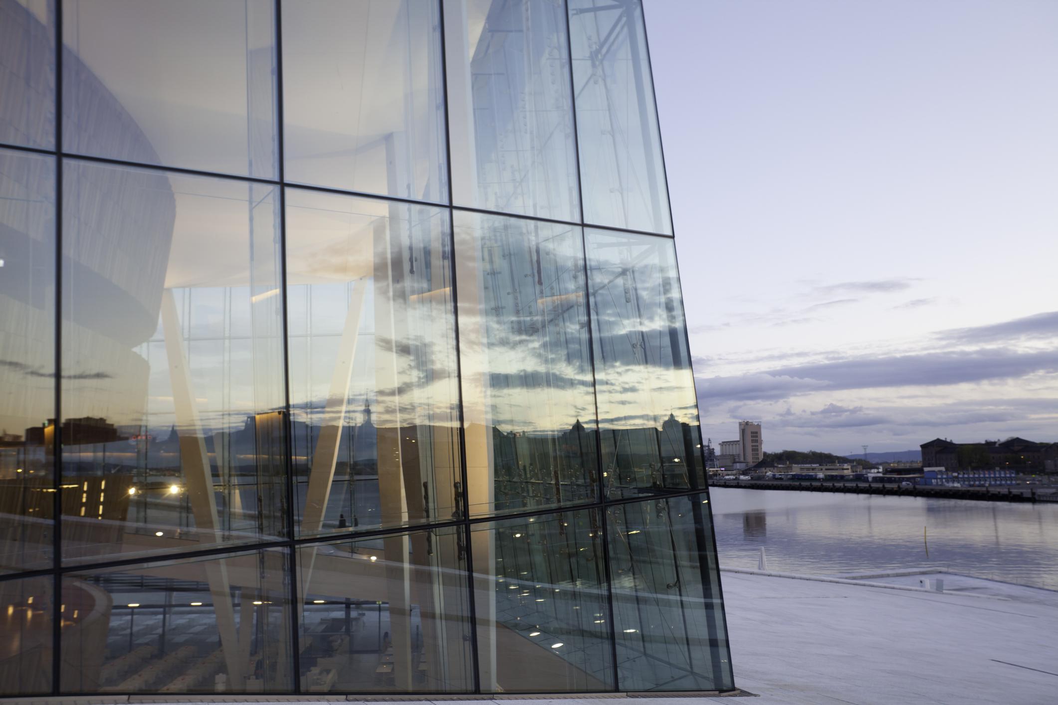 Oslo Opera House seen at dusk