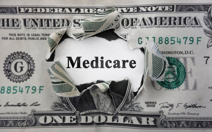"""Torn one dollar bill with the word """"Medicare"""" showing through the hole."""