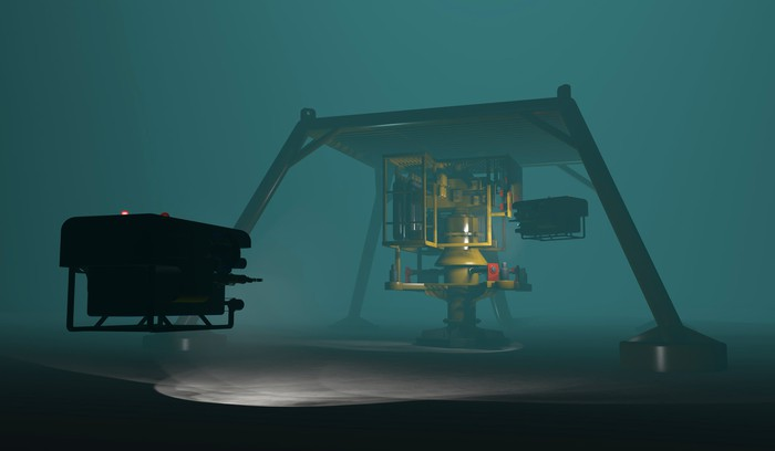 A remotely operated vehicles inspecting subsea oil and gas equipment.