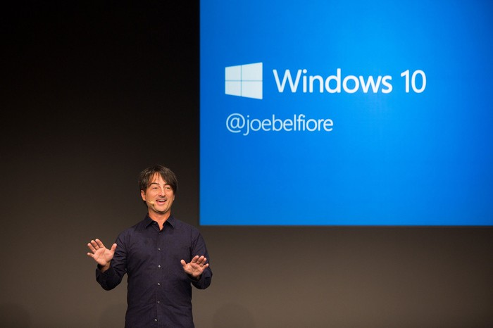 Microsoft's Joe Belfiore with a slide behind him that reads