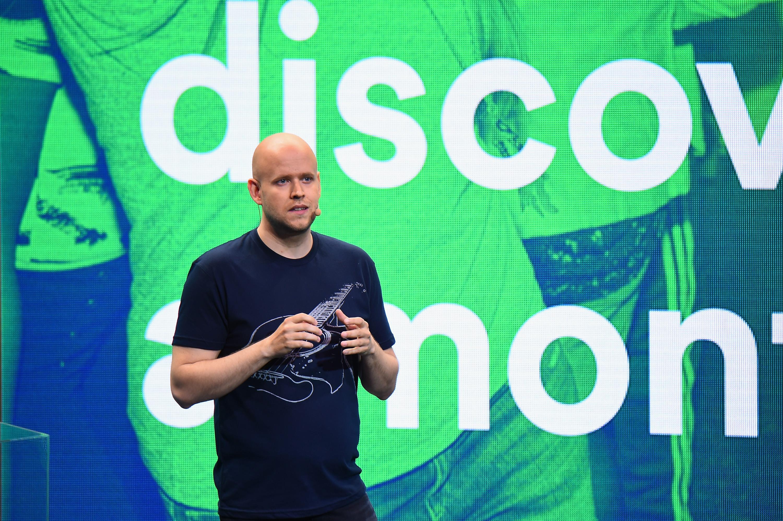 Spotify CEO Daniel Ek speaking onstage