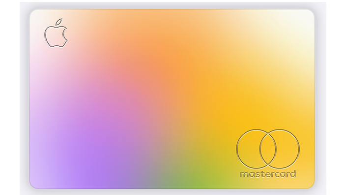 Colored rectangular card with Apple logo in upper left and Mastercard logo in lower right.