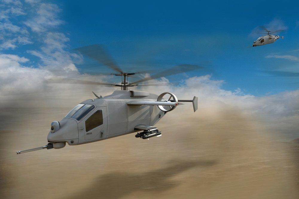 Artist rendering of the AVX/L-3 entry flying across a desert landscape.