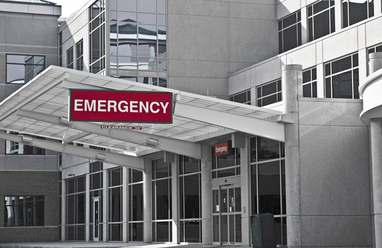 Exterior of a hospital emergency room entrance