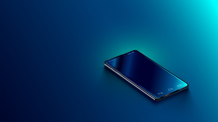 A smartphone on a blue background.