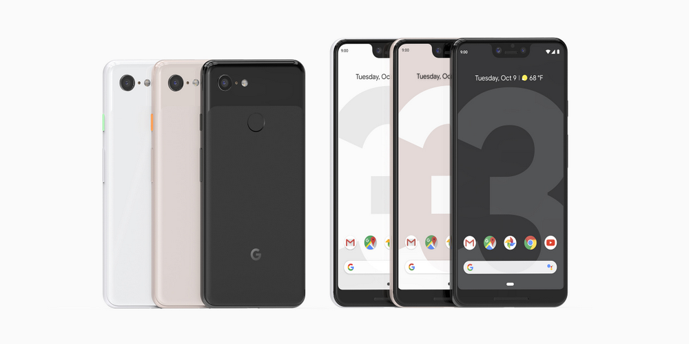 Pixel 3 and 3 XL lineups in various colors