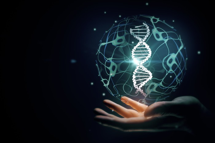 Image of a DNA double helix above an outstretched palm.