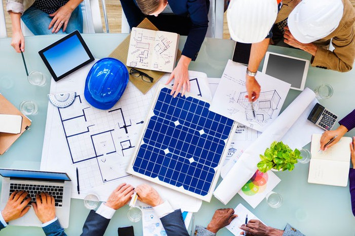 A team planning a solar project.