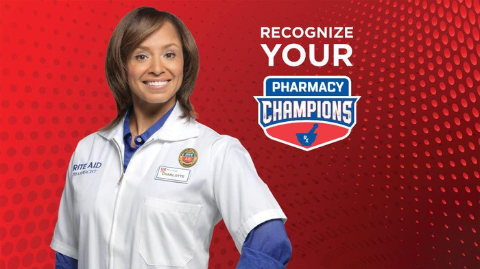 Rite Aid promo for pharmacy champions featuring a smiling female pharmacist.