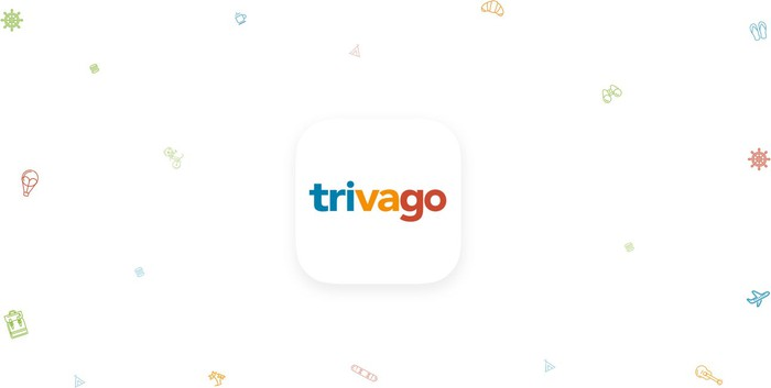 App-sized button with Trivago logo in it, along with colored shapes surrounding it