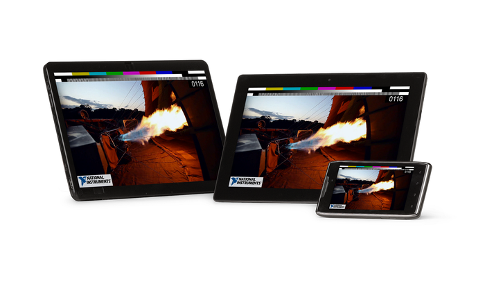 Three mobile devices showing a remote firing test, with National Instruments logo.