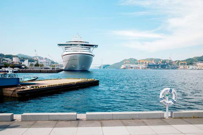 Cruise ship at a dock.