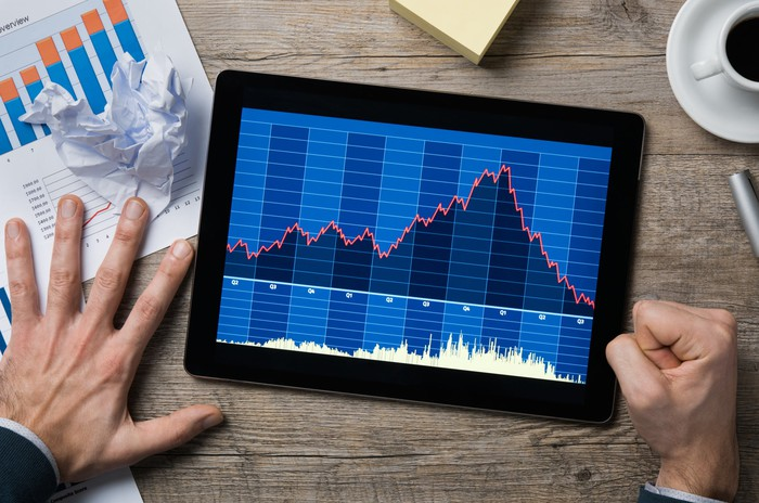 A hand pounds the table next to a tablet showing a declining stock chart.