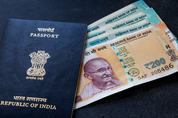 Indian passport and money