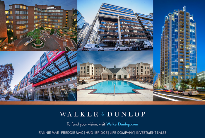Five real estate properties in boxes above the Walker & Dunlop logo and related information.