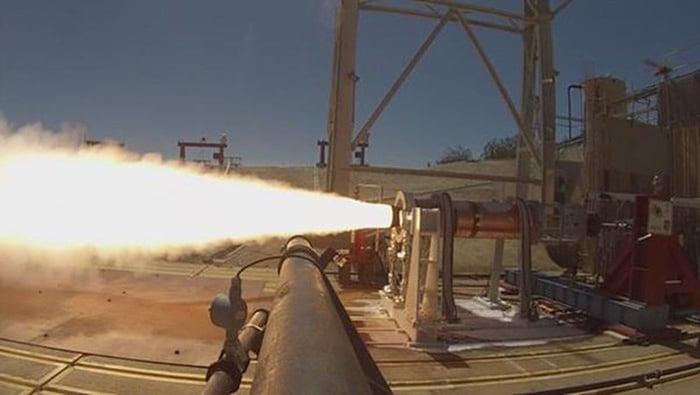 An Aerojet Rocketdyne solid rocket motor testing its fire.