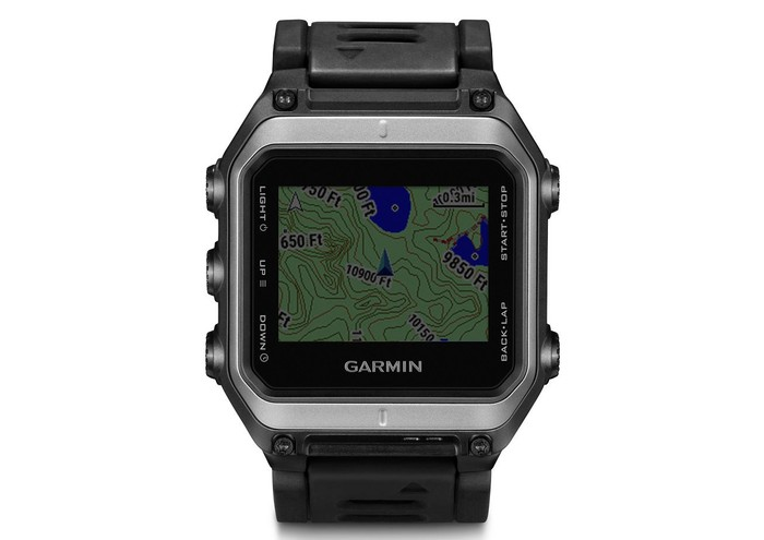 Black Garmin watch with map view on it.