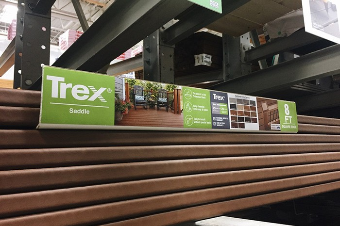 Trex decking in a home improvement store.