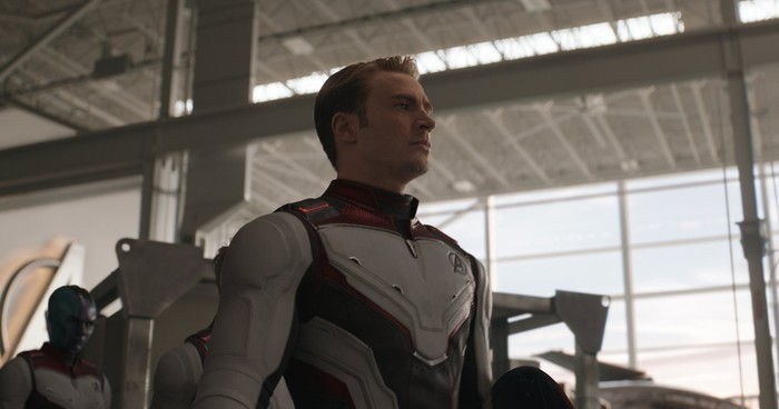 Chris Evans portraying Captain America in a scene from Avengers: Endgame