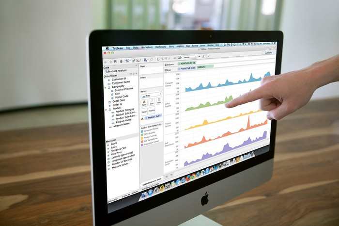 Tableau software visualizing data on a computer monitor as a finger points to it.
