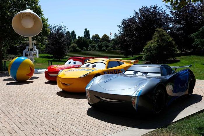 Life-size Cars and a giant Pixar lamp at Pixar Animation Studios.