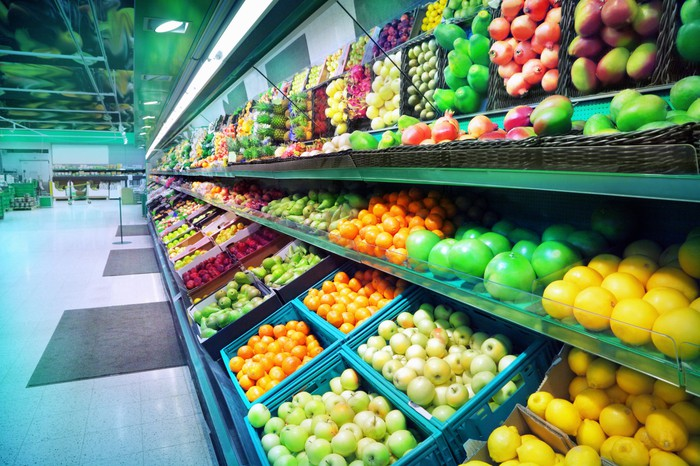 Supermarket produce department.