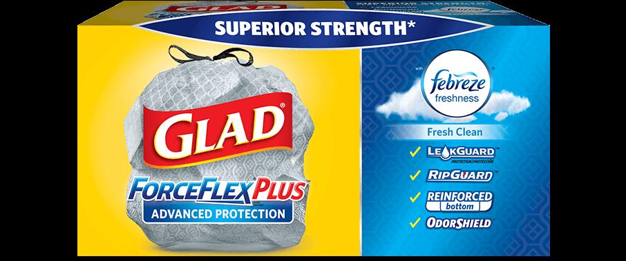A box of Glad trash bags.