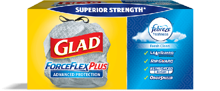 A box of Glad trash bags.