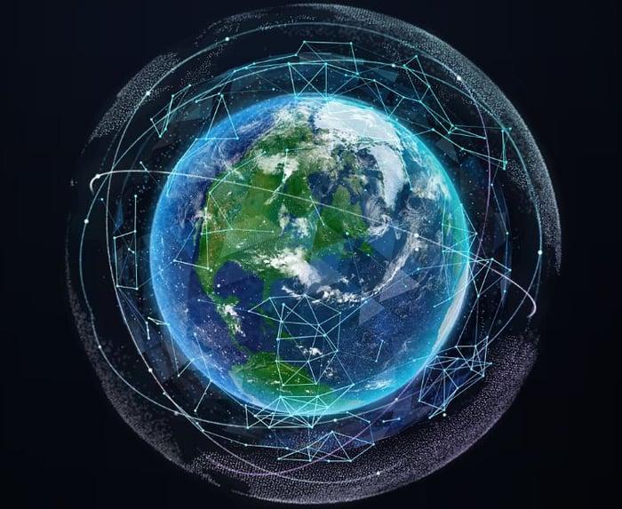Schematic of satellites orbiting the globe.