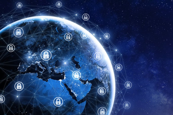 A network of lock icons across the Earth.