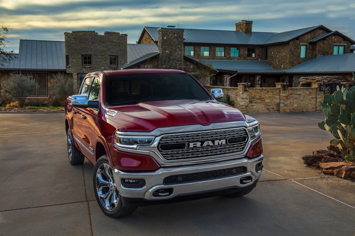 A red 2019 Ram 1500 Limited, an upscale full-size pickup truck.