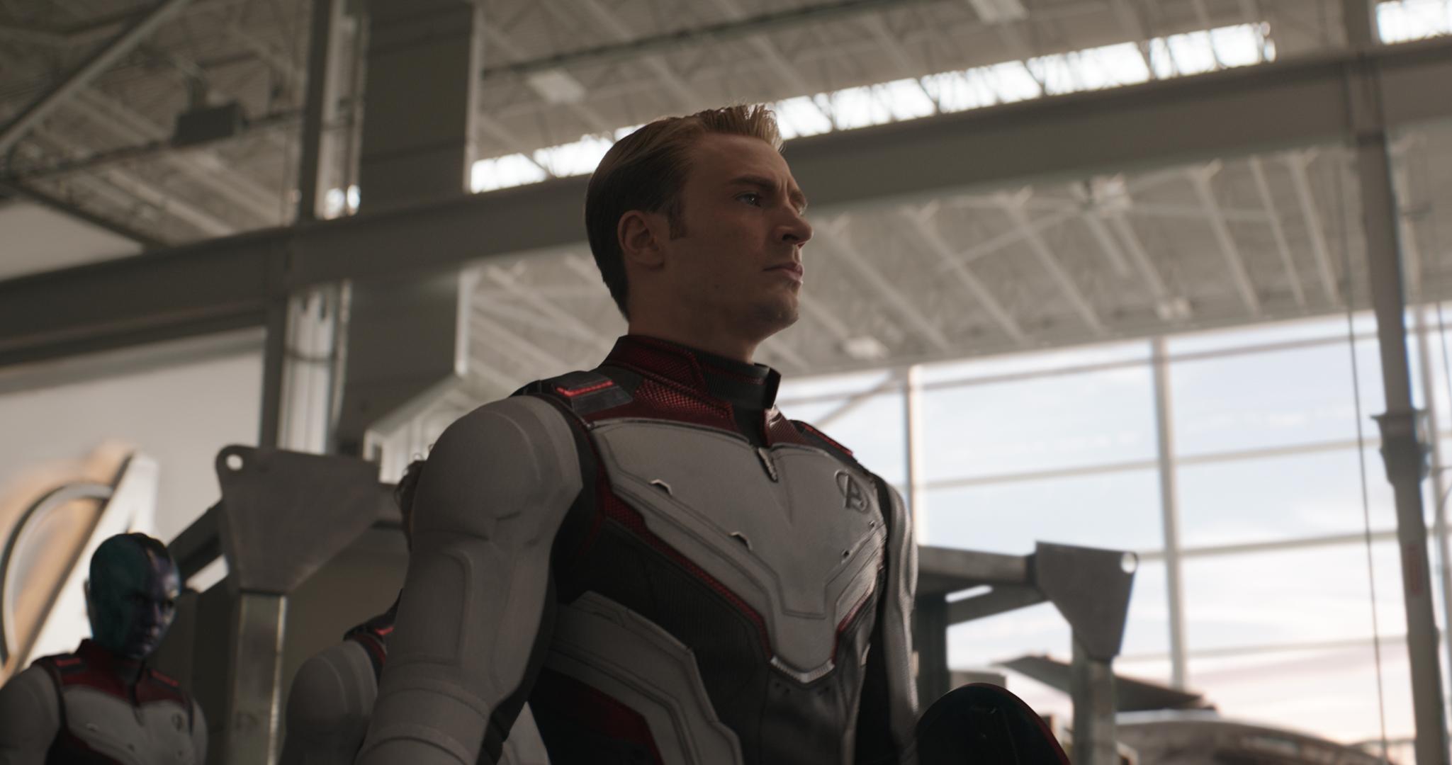 Chris Evans as Captain America and Karen Gillan as Nebula in a scene from Avengers: Endgame.