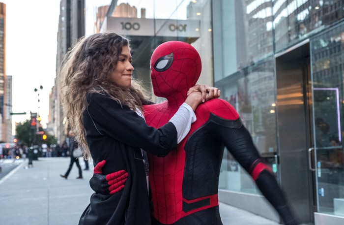 Tom Holland as Spider-Man and Zendaya as Michelle Jones in a scene from Sony's Spider-Man Far From Home.