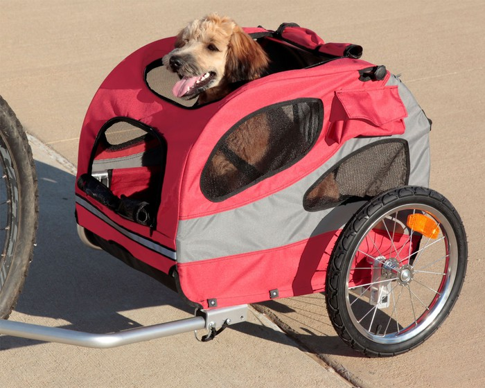 Pet trailer a with dog in it attached to a bicycle