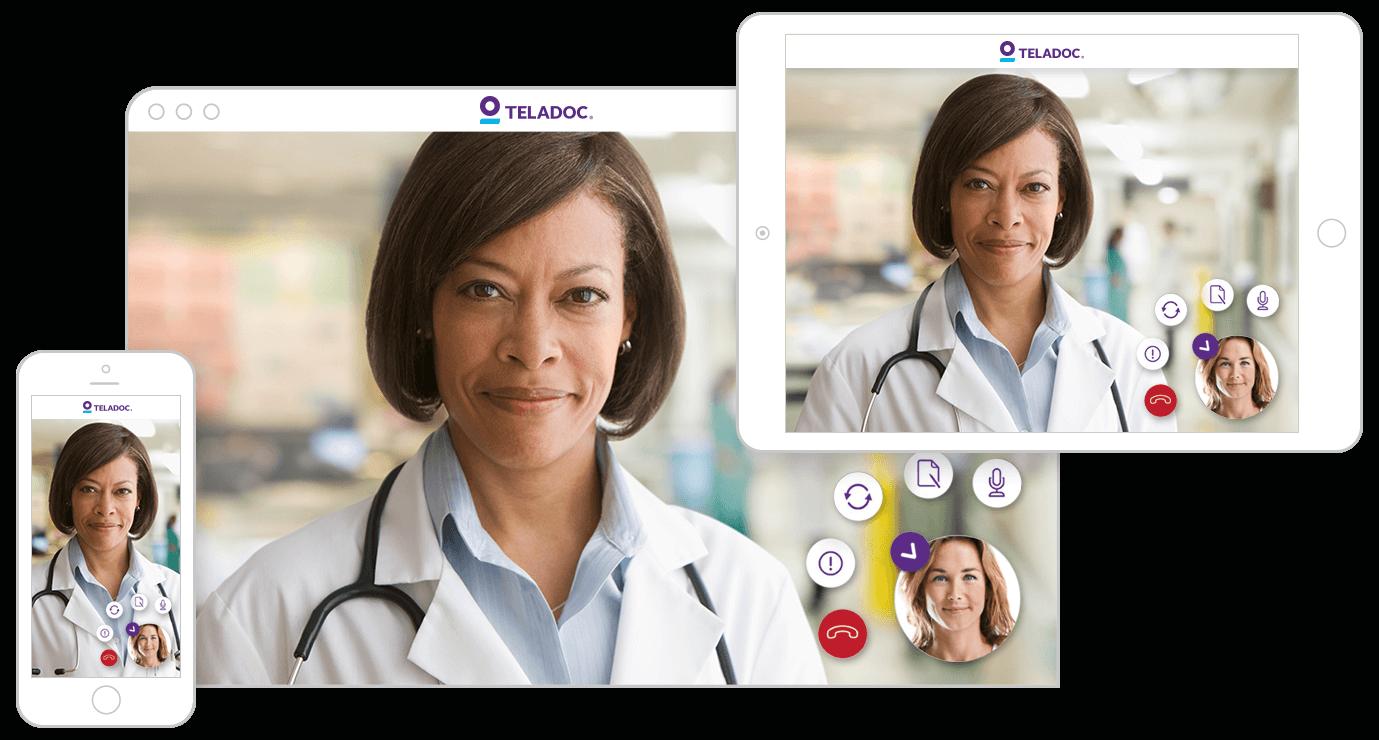 Tablet and smartphone screens running Teladoc app.