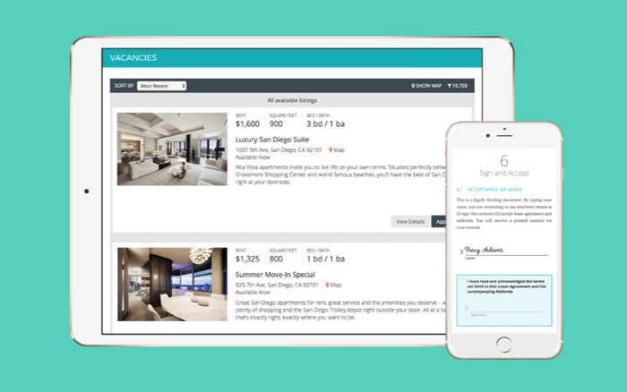 AppFolio app screen view of two real estate rental listings.