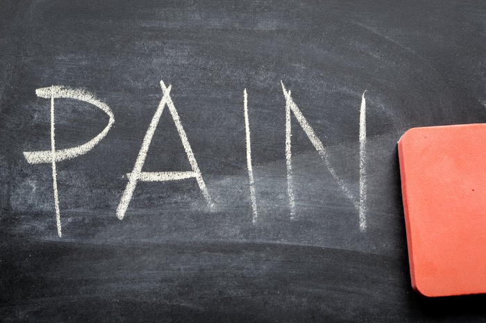 """Chalkboard with the word """"pain"""" written on it in capital letters."""