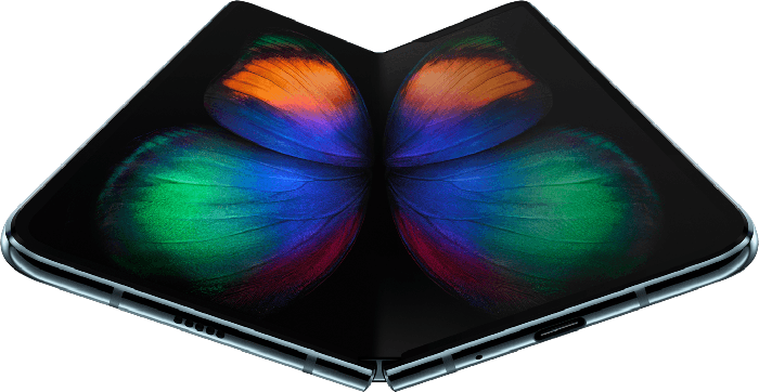 A Samsung foldable smartphone displaying a picture of a butterfly.