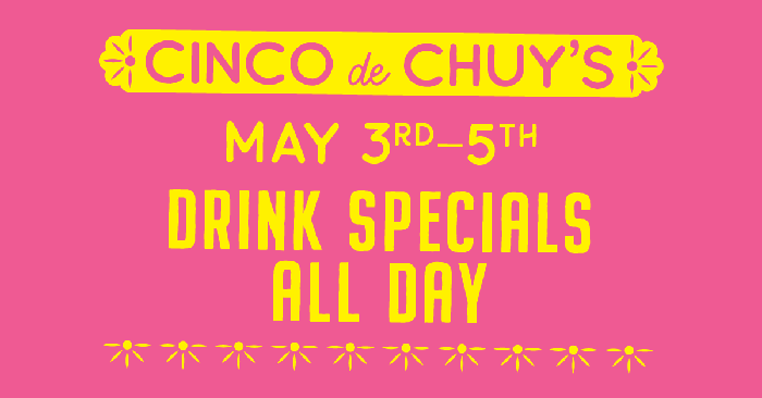Ad with yellow lettering and pink background for Cinco de Mayo.