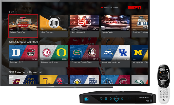 ESPN showing available sporting events on a TV with a set-top box and remote.