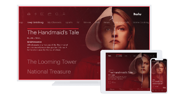 "Hulu displaying ""The Handmaid's Tale"" on multiple devices."