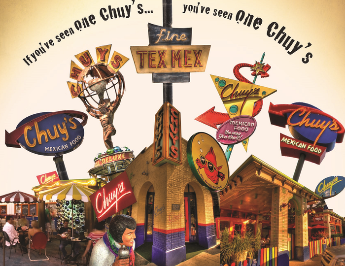 Various Chuy's signs over the course of its history.