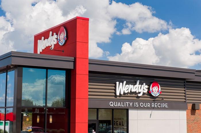 A Wendy's restaurant exterior.